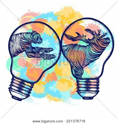 Animals color tattoo and t-shirt design. Hunting tattoo and t-shirt design. Art animals, wild animals in light bulbs t-shirt design. Line art and water color splashes