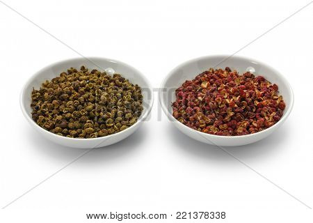 sichuan pepper, green and red