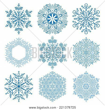 Set of blue snowflakes. Fine winter ornament. Snowflakes collection. Snowflakes for backgrounds and designs
