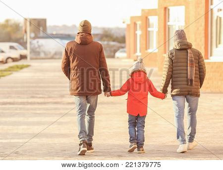 Male couple with adopted boy outdoors