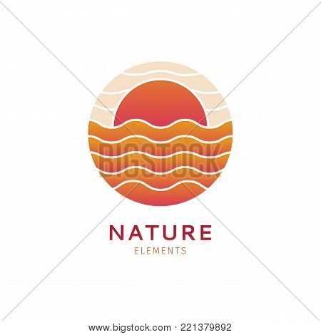 Abstract logo of sun, sea in circle.Vector icon with waves and sunset, isolated background. Round emblem for design of business, holiday, travel agency, ecology, voyage, round trip and cruise concept.