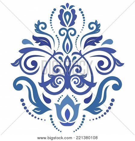 Oriental pattern with arabesques and floral elements. Traditional classic ornament. Vintage pattern with arabesques