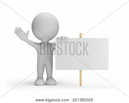 3d person with an empty billboard. 3d image. White background.