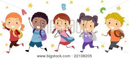 Illustration of Kids Running