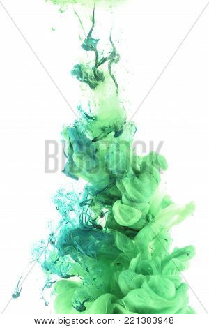 close up view of blue gouache splash isolated on white