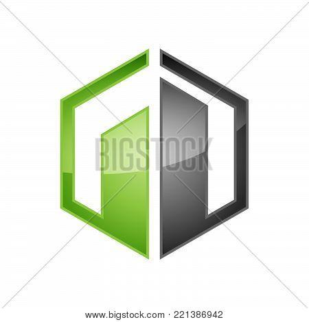 Hexagon realty logo - Vector logo concept illustration. Hexagon geometric polygonal logo. Hexagon abstract logo. Vector logo template. Design element. Realty logo design