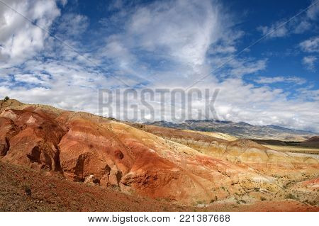 Red mountains are similar to the Martian landscape. Altai, Russia.