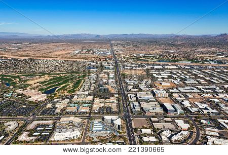 Growth in the popular tourist region of the desert southwest, Scottsdale, Arizona viewed from above