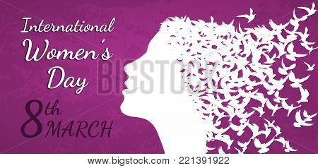 International Women's Day March 8th vector illustration with woman profile and birds silhouettes
