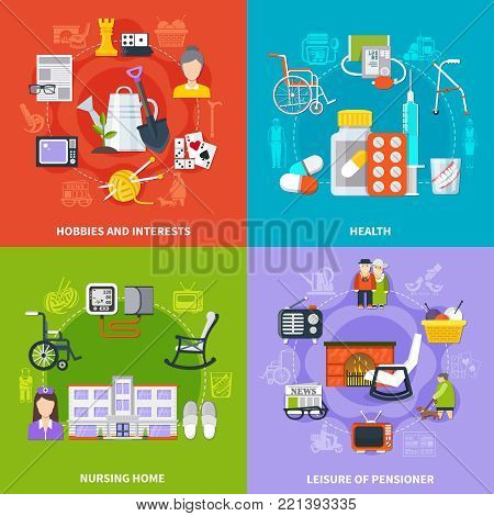 Four squares flat pensioner icon set with hobbies and interests health nursing home and leisure of pensioner descriptions vector illustration