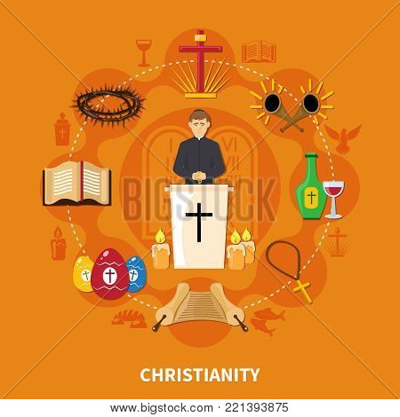 Religions flat composition with Christianity and important elements of this religion vector illustration