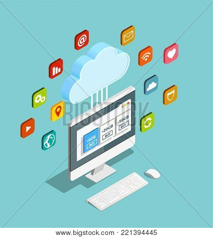 Cloud computing service concept providing storage networks servers applications isometric composition with monitor and apps symbols vector illustration