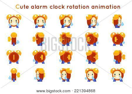 Cute alarm clock child ticker kid character icons rotation animation symbols set frames isolated flat design vector illustration poster