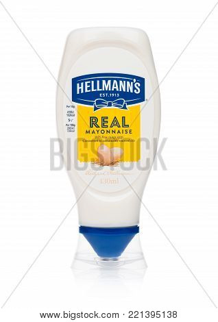 LONDON, UK - JANUARY 02, 2018: Plastic container of Hellman's mayonnaise on white background