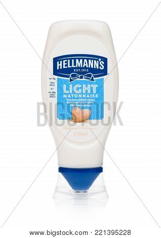 LONDON, UK - JANUARY 02, 2018: Plastic container of Hellman's light mayonnaise on white background
