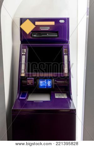 Purple ATM machines. The station automatic machines.
