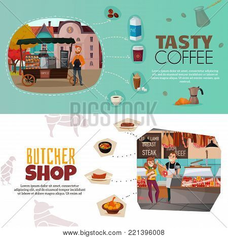 Shops horizontal banners set with coffee street cart and butcher shop symbols flat isolated vector illustration