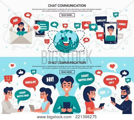 Electronic communication worldwide with mobile devices horizontal banners webpage design with chat and mail symbols vector illustration