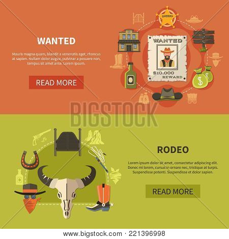 Set of flat horizontal banners with wanted bandit poster, sheriffs attributes and rodeo elements isolated vector illustration