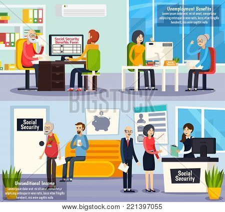 Social security orthogonal horizontal banners with unconditional income and documents execution for unemployment benefits isolated vector illustration poster