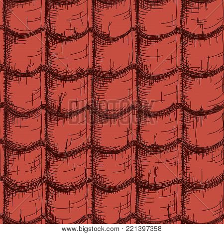 Vector seamless drawn in pencil red roof tile.