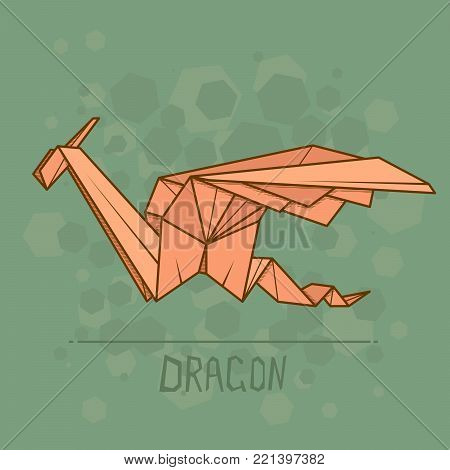Vector simple illustration paper origami of dragon.