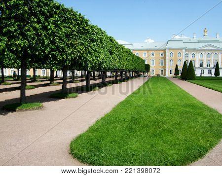 Petergof, Saint Peterburg, Russia - JUNE 21, 2013: Petergof historical palace surrounded by a park