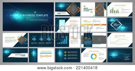 Vector business template set. Blue abstract banner, presentation with infographics, chart, diagram layout. Corporate annual report, advertising, marketing background. Brochure, flyer leaflet cover.