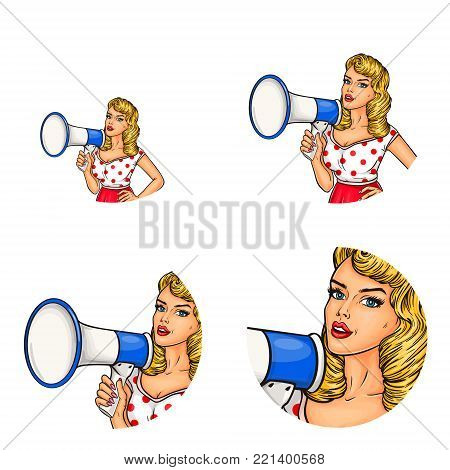 Vector set of female round avatars for users of social networks, blogs, profile icons in pop art style. Sexy blonde pin up girl shouts in megaphone, announces discounts, or calls to protest