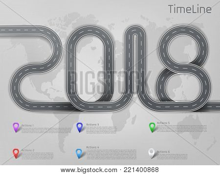 Vector company corporate 2018 car road milestone, timeline, business presentation layout, infographic strategic plan workflow with pointers marks, actions steps. Concept template illustration on grey