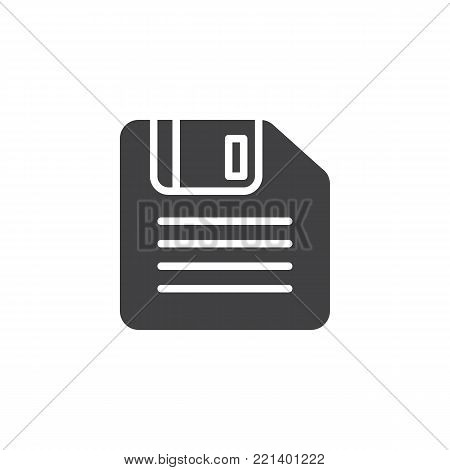 Floppy disk icon vector, filled flat sign, solid pictogram isolated on white. Diskette, Save symbol, logo illustration.