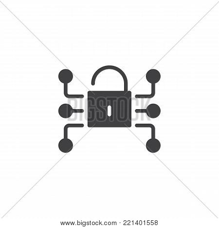 Lock media network data protection icon vector, filled flat sign, solid pictogram isolated on white. Cryptography, Cyber security symbol, logo illustration.
