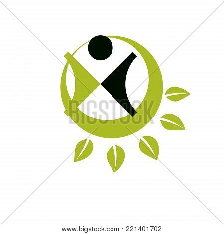 Vector illustration of excited abstract person with raised hands up. Go green idea creative logo. Healthy lifestyle metaphor. Environmental conservation theme symbol.