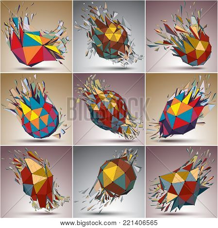 Set of 3d vector low poly objects with black connected lines and dots. Colorful wireframe damaged shapes with triangular fragments. Lattice perspective shattered forms collection, explosion effect.