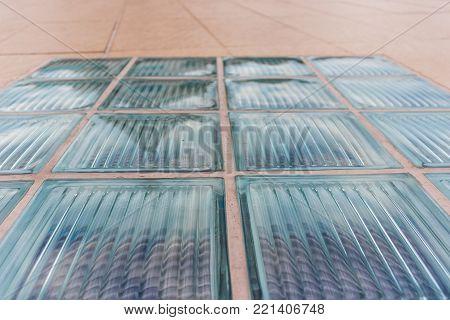 Glass Block Of Walkway In Stripe Pattern Line