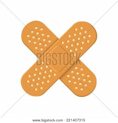 Adhesive Medical Plasters Bandage. Cross Icon. Vector illustration