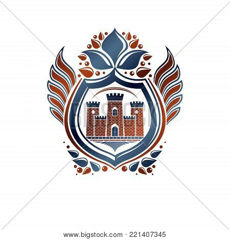 Heraldic Coat of Arms decorative emblem with medieval stronghold and lily flower, isolated vector illustration. Winged protection shield, defense.