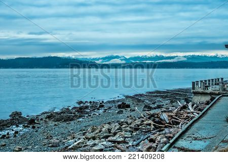 A view of the Olympic Mountains from the West Seattle shoreline.