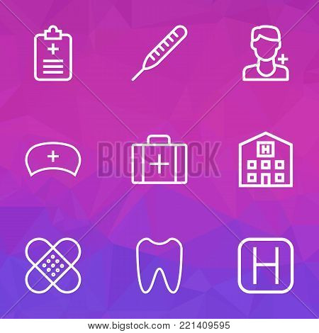 Medicine icons line style set with rapport, case, hospital and other plaster  elements. Isolated vector illustration medicine icons.