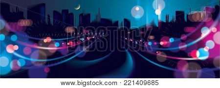 Wide panorama big city nightlife with street lamps and bokeh blurred lights. Effect vector beautiful background. Blur colorful dark background with cityscape, buildings silhouettes skyline. poster