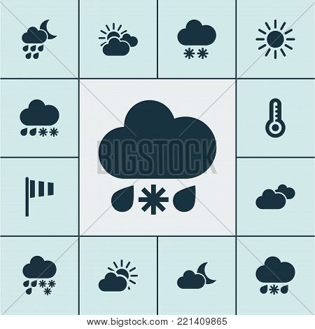 Weather icons set with sunset, moonlight, snowfall and other mainly cloud elements. Isolated vector illustration weather icons.