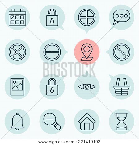 Web icons set with unlock, glance, refuse and other calendar elements. Isolated vector illustration web icons.