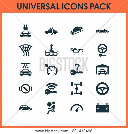 Car icons set with hatchback, vehicle, control and other safety elements. Isolated vector illustration car icons.
