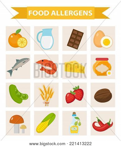 Food allergen icon set flat style. Allergy products, meal allergies. Isolated on white background. Vector illustration