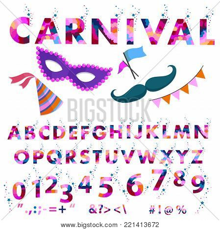Vector of stylized font and alphabet. arnival alphabet colorful sticker alphabet with number and plus, minus, division, multiplication, quotation marks, equals. olorl letters for card, banners
