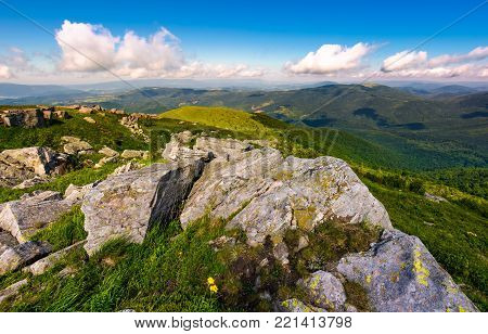 Carpathian mountains with grassy slopes and rocks. beautiful mountainous landscape in summer