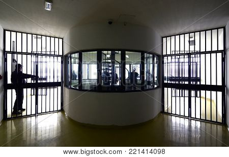 Details of high security prison on winter day