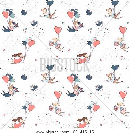 Cute funny boy and girl characters flying by heart shape balloons seamless pattern for Happy Valentine's Day with flowers, presents, sweets and clouds. Flat line design. Vector illustration.