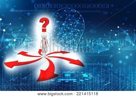 3d man thinking and confusing with many red arrows showing different directions wondering which way to go isolated over white background. 3d illustration