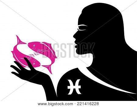 the illustration with the sign of zodiac - the pisces.